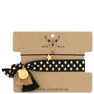 Ibiza Bänder Armband Haargummi Love Ibiza Coachella Set No.5  golden star